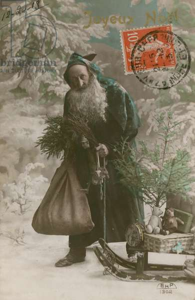Postcard of Father Christmas, sent on 24th December 1913 (hand-coloured photograph)