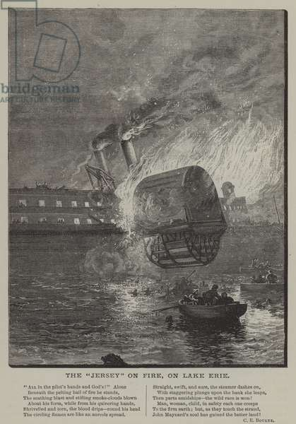 Paddle steamer Jersey on fire on Lake Erie (engraving)