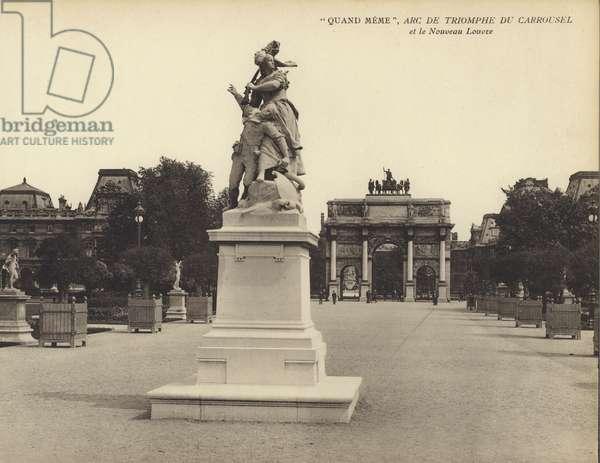 """Paris: """"Quand Meme"""", Arc De Triomphe Du Carrousel, et le Nouveau Louvre (b/w photo)"""
