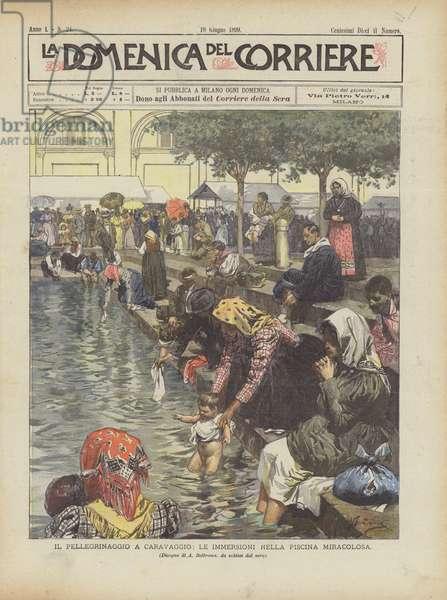 Il Pellegrinaggio A Caravaggio, Le Immersioni Nella Piscina Miracolosa (colour litho)