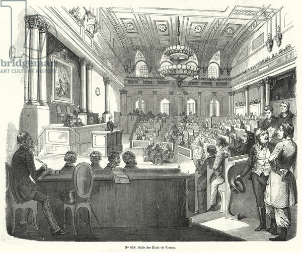 Chamber of the Austrian parliament, Vienna (engraving)