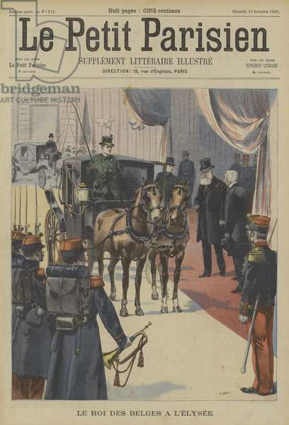 Leopold II, King of the Belgians, at the Elysee Palace, Paris (colour litho)