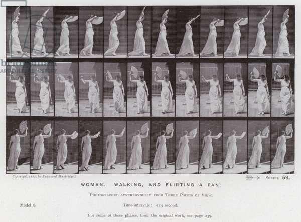 The Human Figure in Motion: Woman, walking and flirting a fan (b/w photo)