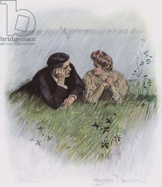 Couple in a meadow (colour litho)