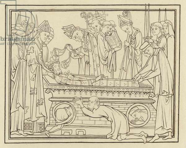 Burial of Edward The Confessor, about the middle of the 13th Century (engraving)