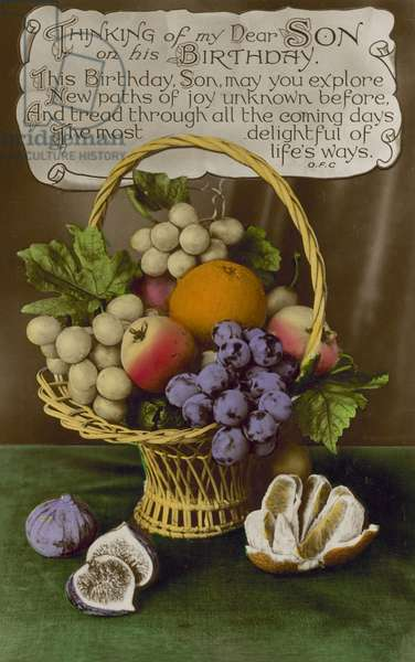 Basket of fruit, birthday greetings card (colour photo)