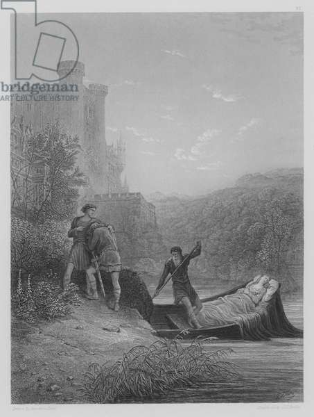 Torre and Lavaine bid farewell to the Body of Elaine (engraving)