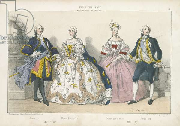 French kings and queens of the elder branch of the Bourbons (coloured engraving)