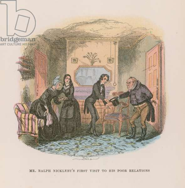 Illustration for Nicholas Nickleby (colour litho)