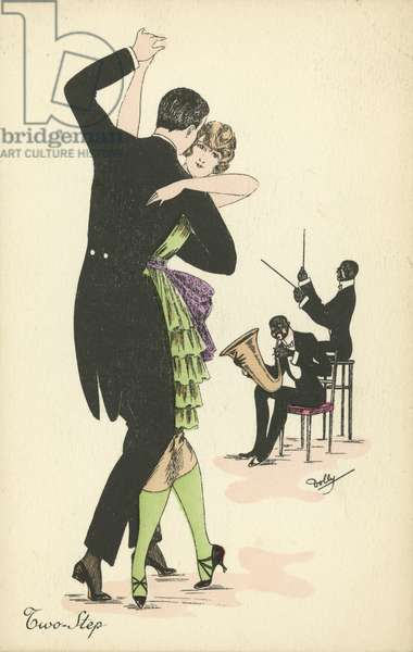 Couple dancing the Two Step (colour litho)