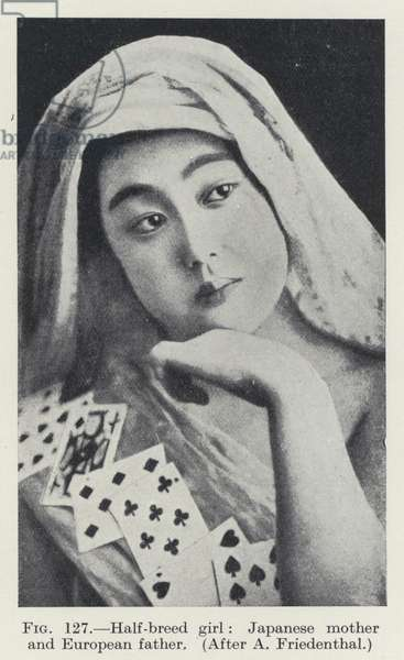 Half-breed girl, Japanese mother and European father (b/w photo)