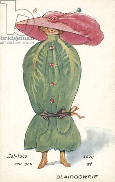 Woman wearing a coat resembling a lettuce, greetings from Blairgowrie, Scotland (colour litho)