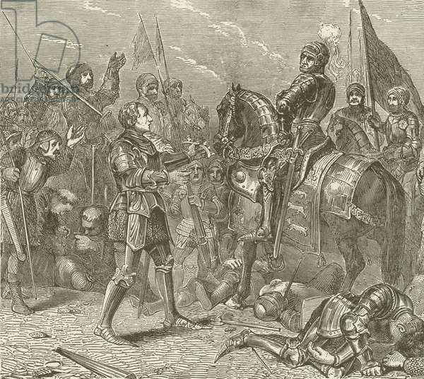 Lord Stanley bringing the Crown of Richard to Richmond, after the Battle of Bosworth (engraving)