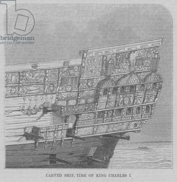 Carved Ship, Time of King Charles I (engraving)