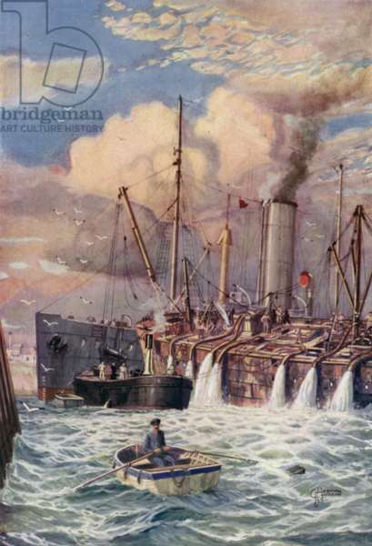 Using electric motors to salvage a wreck (colour litho)