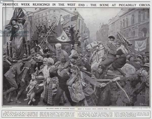 Armistice Week rejoicings in the West End, The scene at Piccadilly Circus (litho)