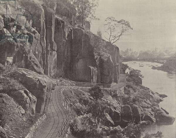 Cataract Gorge, showing the Cataract Bridge (b/w photo)