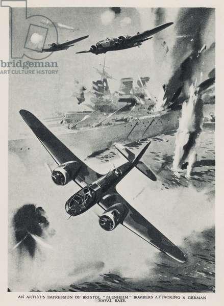 British Bristol Blenheim light bombers of the RAF attacking a German naval base, World War II (litho)