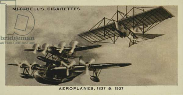 Wonderful Century, 1837-1937: Aeroplanes, Henson's Aerial Steam-Carriage, Mayo Composite Aircraft (litho)