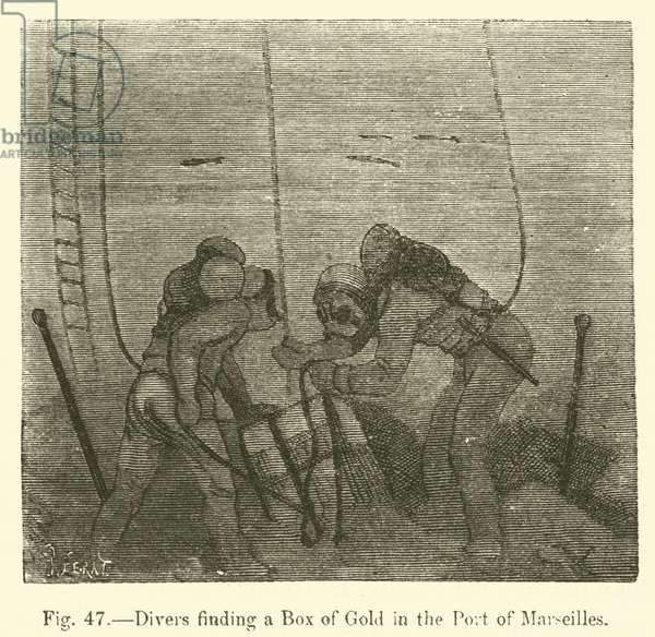 Divers finding a Box of Gold in the Port of Marseilles (engraving)