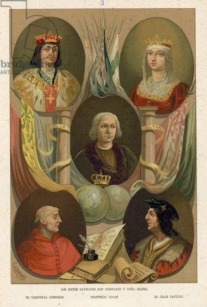 Ferdinand and Isabella of Spain (chromolitho)