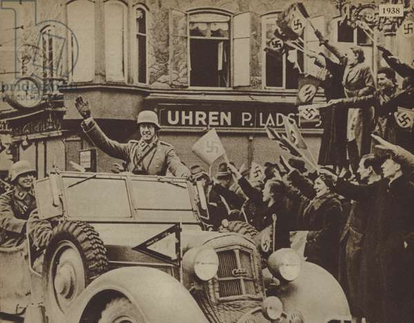 Crowds welcoming German troops in Austria during the Anschluss, 1938 (b/w photo)
