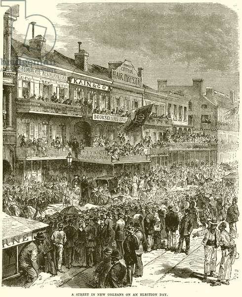 A Street in New Orleans on an election day (engraving)