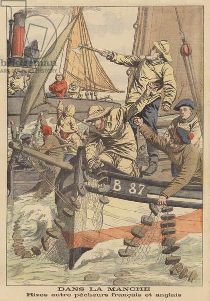 Confrontation between French and English fishermen in the Channel (colour litho)