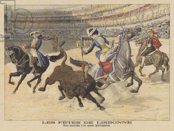 A bullfight Portuguese-style (colour litho)