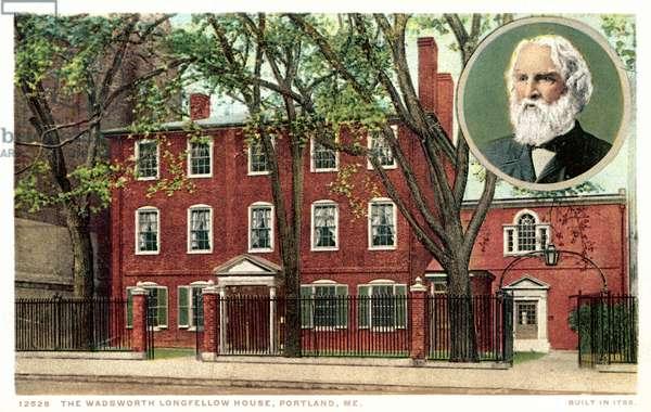 The Wadworth Longfellow House, Portland, Maine (colour litho)