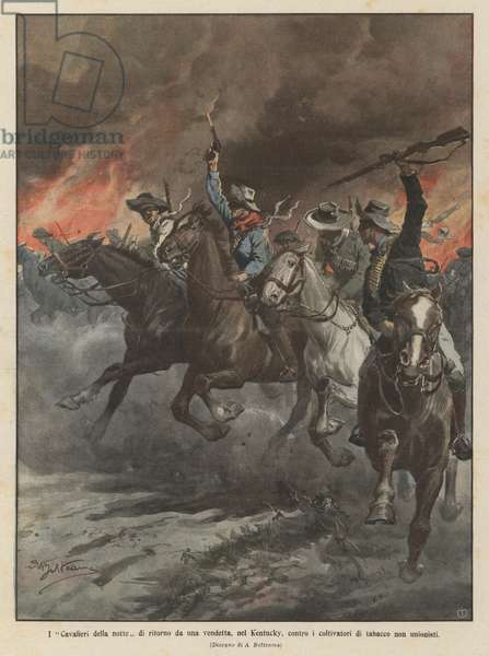 I Cavalieri della notte di ritorno da una vendetta, nel Kentucky, contro i coltivatori di tabacco non unionisti (colour litho)