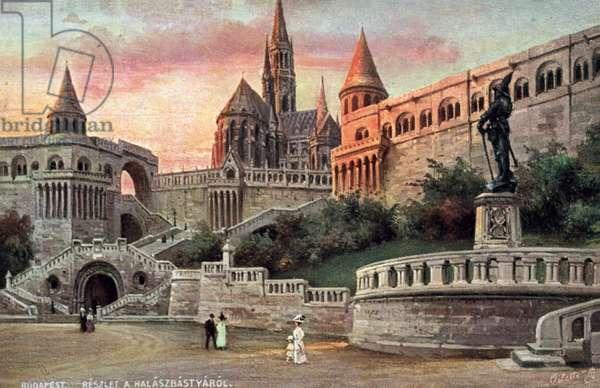 Budapest, Reszlet A Halaszbastyarol (colour litho)