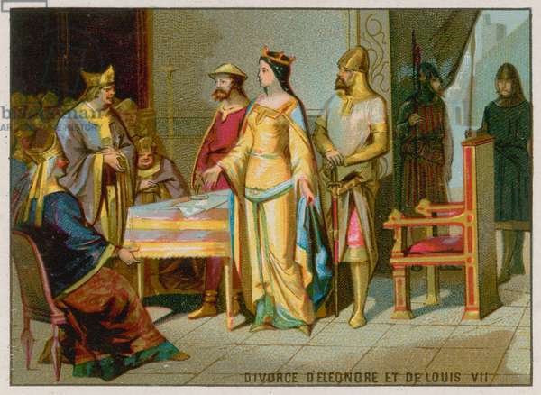 The Divorce of Eleanore of Aquitaine and Louis VII (chromolitho)