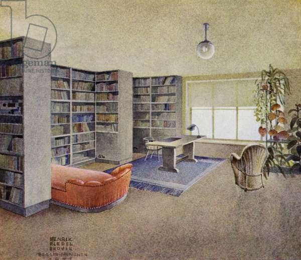1930s interiors: Library (colour litho)
