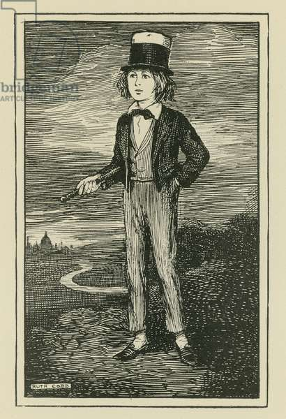 An imaginary portrait of Charles Dickens as young boy (engraving)