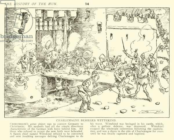 Charlemagne besieges Wittekind (engraving)
