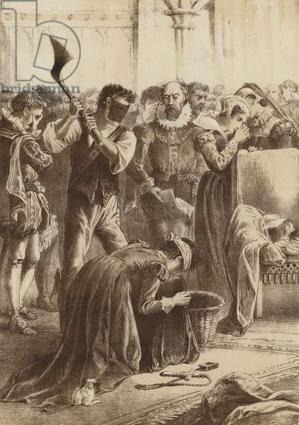 """Queen Mary, """"Beheaded at Fotheringay"""" (litho)"""