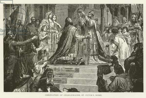 Coronation of Charlemagne, St Peter's, Rome (engraving)