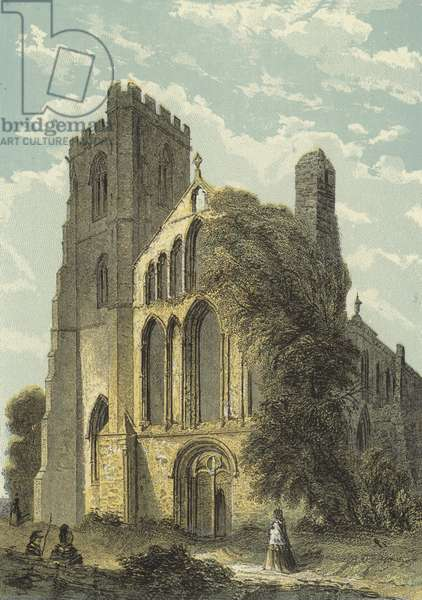 Llandaff Cathedral, West Front (coloured engraving)