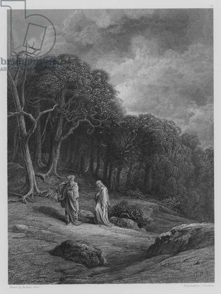 Vivien and Merlin enter the Woods (engraving)