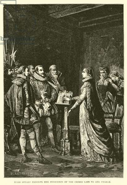 Mary Stuart protests her innocence of the crimes laid to her charge (engraving)