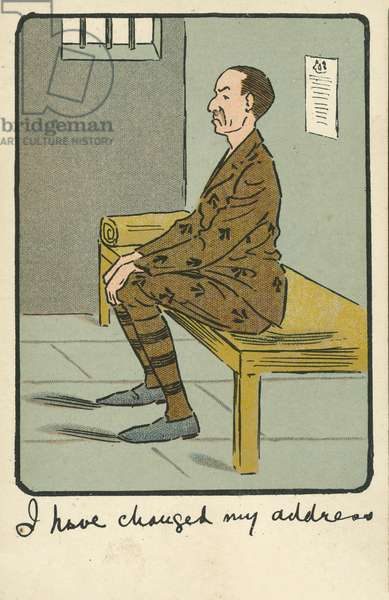 Crime and punishment: a prisoner in his cell (chromolitho)