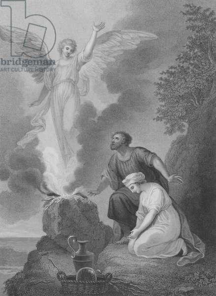 Manoah's Sacrifice, Judges 13, Verse 15-22 (engraving)