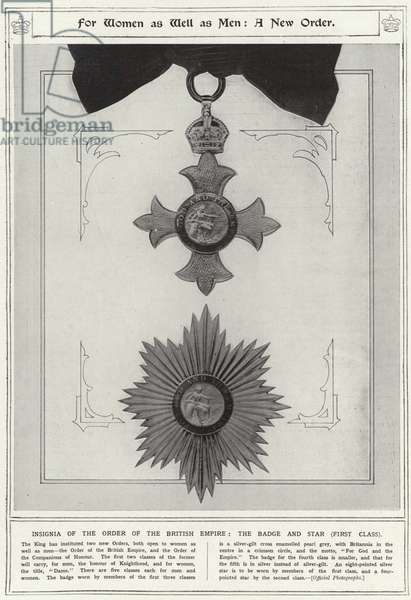 For women as well as men, a new order, insignia of the order of the British Empire, the badge and star, first class (litho)