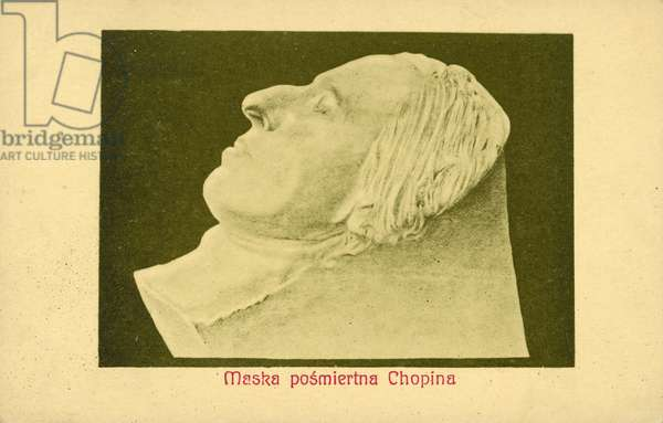 Death mask of Frederic Chopin (b/w photo)