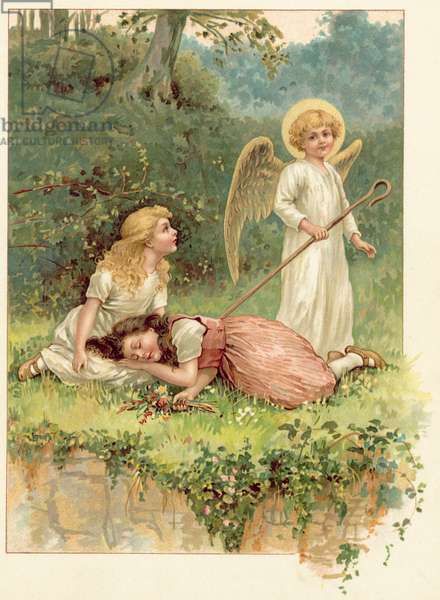 Snow-White, Rose-Red, and the Angel (chromolitho)