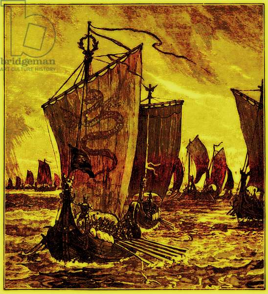 The 'Keels' of the Northmen, illustration for 'History of England' by H. O. Arnold-Forster, published 1897 (digitally enhanced image)