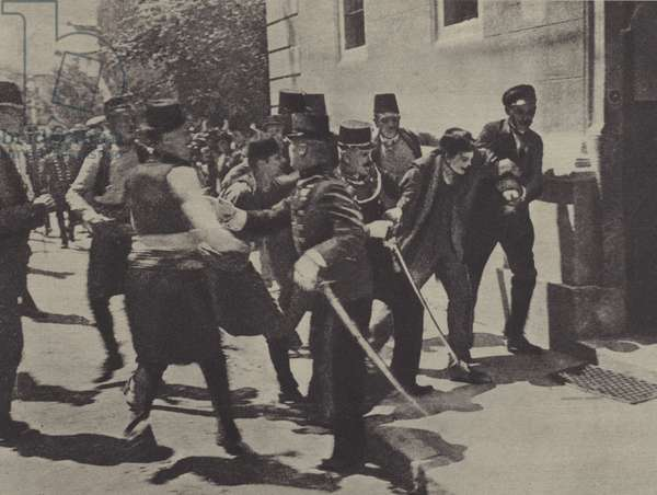 Soldiers arresting Gavrilo Princip, assassin of Archduke Franz Ferdinand of Austria, in Sarajevo, 1914 (b/w photo)