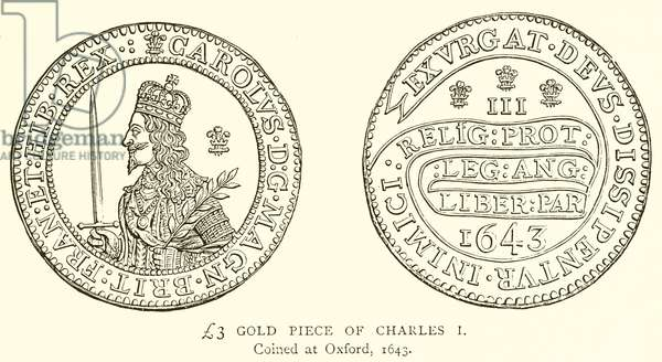 £3 Gold Piece of Charles I (engraving)
