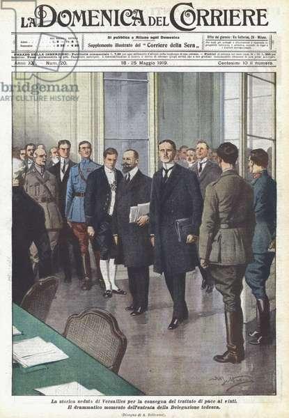 La storica seduta di Versailles per la consegna del trattato di pace ai vinti (colour litho)